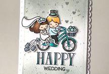 Cards wedding bike stamp set