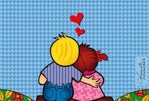 Namorados / Ilustrações criadas por Mônica Fuchshuber. Deseja comprar uma reprodução? Entre em contato. contato@monicafuchs.com.br