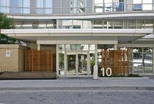 For Sale: 10 Navy Wharf Unit 201, Cityplace, Toronto / Check out this tastefully upgraded 1 bedroom + den condo in the heart of downtown Toronto. Well laid out unit with a true den. Upsized gourmet style kitchen with thick granite countertops, undermount sink, glass/stone mix backsplash & high end stainless steel app. Completely renovated bathroom with granite vanity and wall to wall natural stone. Gleaming engineered hardwood floors and spacious bedroom. Enjoyable balcony overlooking tranquil pond. Steps to TTC, financial & entertainment districts. / by Realty Queen TO
