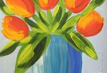 kwiaty malowanie farbami