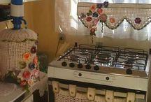 jogo de cozinha de crochê