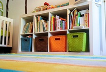 Nursery & Playroom Storage Ideas / Organize a nursery, kid's room or playroom with these low-cost ideas. Lots of them are DIY, too. Just click the image to find a tutorial.