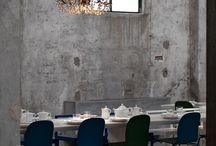 Table, Food end Space in Milan Italy /  restaurant and cocktail bar brings industrial elegance to a factory setting