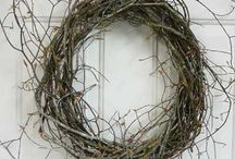 "Twig Wreaths, ""Wild & Woodsy""  / I design Wild & Woodsy Twig or Birch Wreaths using many elements of nature. My Wild & Woodsy wreaths are also filled with freshly harvested sheet moss, sponge mushrooms, and loops and curls of fresh honeysuckle vines. / by Ladybug Wreaths, Nancy Alexander"