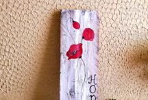 MagicWood Creations / Wood burned and painted ornaments with recycled wood slices .