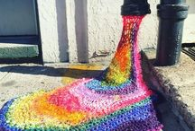 Yarnbombing - Guerilla Knitting / We love the motivation and inspiration behind yarnbombing and guerilla knitting, with awesome, often large-scale results with impact - sometimes affecting change, putting a smile on one's face, and admiration for the brilliant ideas and labours of love!  Keep on creating textile artists!