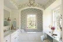 Bathrooms & Closets / white, marble, aqua, linen, luxurious