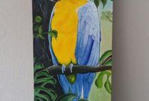 schilderijen acryl op doek / Ara in acryl  op doek