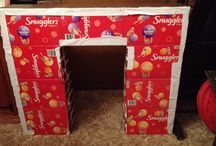 Christmas decos / Fire place made from nappy boxes