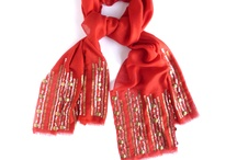 The Red Scarf / Orvana Hand embellished silk wool scarf