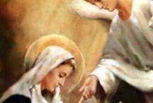 La Anunciación a la Virgen María / Se apareció el Ángel Gabriel a María, desposada con 'un varón llamado José, de la casa de David' y la saludó con las palabras: 'Dios te salve María, llena eres de gracia', anunciándole así la concepción, a lo que María respondió aceptando la voluntad de Dios: 'He aquí la esclava del Señor, hágase en mí según tu palabra'.