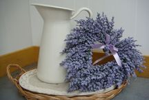 Lavender heart / metal containers, lavender heart wreath, wicker tray, lace tablecloth