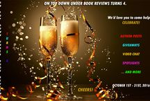 We Turn 4. Yay! Oct 2016 Celebrations. / Blog anniversary. Come join us for - giveaways, interviews, excerpts, spotlights, videos and more. Board updated daily during October 2016. http://ontopdownunderbookreviews.com/blog-anniversary-events-we-turn-4/
