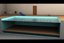 Вариобассейн. Бассейн с изменяемой глубиной. Hidden Pools / Вариобассейн: Бассейн, глубина которого может быть изменена вертикальным перемещением промежуточного дна по всей площади ванны бассейна или ее части.