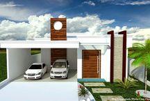 Fachadas de Casas Térreas Pequenas com Garagem! / Veja + Inspirações e Dicas de decoração no blog!  www.construindominhacasaclean.com