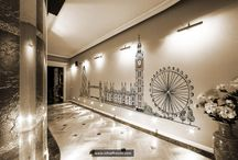 Office wall décor / The exquisite wall decorations we produce are made on a 1mm layer of rollable plaster, a completely handmade backing and they are installed directly on site.
