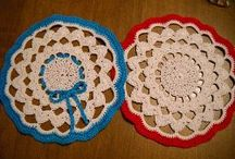 Crochet doily and runners