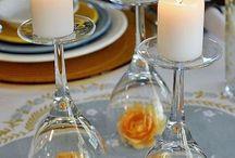 Декор стола / Декор строя фужерами цветами свечами