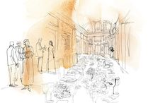 Mondadori, Donna Moderna, watercolor illustrations / Watercolor and ink illustration, a marriage and a dinner party, a Palace in Milan, for Donna Moderna, Mondadori