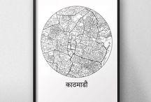 Affiches de villes d'Asie / Chine, Japon, Népal, Thaïlande, ...