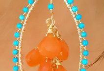 orecchini turchese e arancione