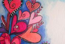 Art journal hearts