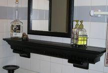 Master Bathroom / Gray walls, white tiles around bottom & Shower, natural wood, Clear knobs, Silver hardware, mason jars, rustic decor
