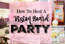 Vision Board Party Inspiration / Have you ever created a vision board? A Vision Board Party is a great way to visualize and manifest your goals. Grab some gal pals, some healthy eats and drinks, and create the life you always envisioned!