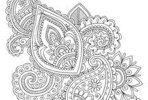 Zentangle, paisley, mandala, doodle, coloring page...