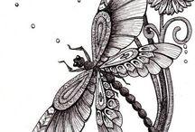 Libellules et papillons