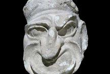theatre Antique masques / Représentations antiques de masques de théâtre grec ou romain