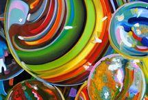 water druppels / met olieverf water druppels en bubbels en knikkers schilderen