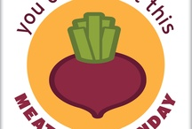 Funny Veggie Badges / Spread the word about #MeatlessMonday by sharing these pun-tastic veggie badges!  / by Meatless Monday
