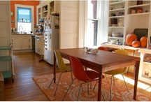 Dining table with Contemporary Chairs / Always on the hunt for some simple modern chairs to go with a heavy wood table.