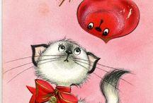 Cat Xmas cards-vintage
