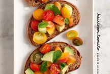 tomato, peach avocado bruschetta - vitamin C, lycopene and loads of flavor!