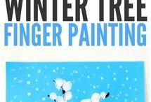 Arbre d'hiver peinture à la main