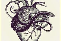 Tattoo - Heart / Heart made out of tree branches/vines like arteries