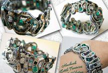 Bracelets and other jewelry - handmade / Ornate bracelets, earrings, pendants, etc. made from soutache, braid, beads, leather, etc.