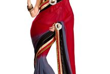 Red And Black Saree With Unstitched Blouse