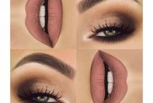 makeup base contouring eyes and lips