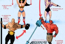 Training Art / bodybuilding exercise CrossFit street workout drawn characters from movies, games, cartoons, comics