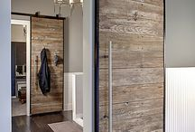 Pocket doors from reclaimed wood