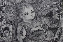 A Christmas Card drawn by Mary Farrington / A pen drawing of The Holy Child