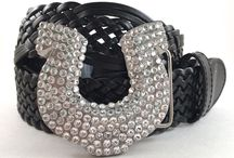Horses and Horseshoe belt buckles / Swarovski Crystal Horse and Horseshoe belt buckles.  All buckles come with a leather snap belt.