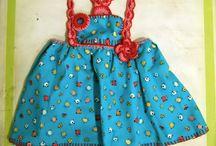 fashion kids dresses/ vestidos para niñas y bebés / Vestidos para niñas en tejido de algodón con detalles en crochet, hecho a mano, diseños únicos y divertidos