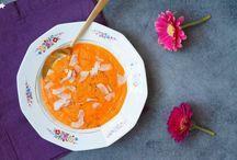 Les jolies soupes / Des soupes aux légumes de saison, de la couleur dans de jolies assiettes, un repas toujours sain...