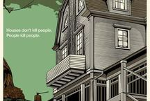"""The Amityville Horror by N.E. from Odd City / """"I chose to approach the Dutch Colonial house in a more ambiguous way to show what had brought the Lutz family to live there in the first place. I wanted to show that the perceived promise of the American dream outweighed the ominous presence of the structure. To show this, I chose to depict that house as beautiful, an ideal, yet possessing and off-kilter quality... Finally, the choice to make it literally a house on a hill was deliberate."""" - NE"""