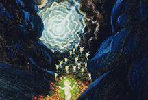 ☆ DreaMers of LiGht ☆ / #moon #light #sun #stars #cloulds #fire #water #flower #dream #illustlation #painting #art