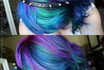 Purple blue mixed hair